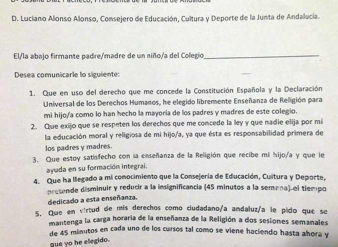 El profesorado de religión solicita apoyo a los padres