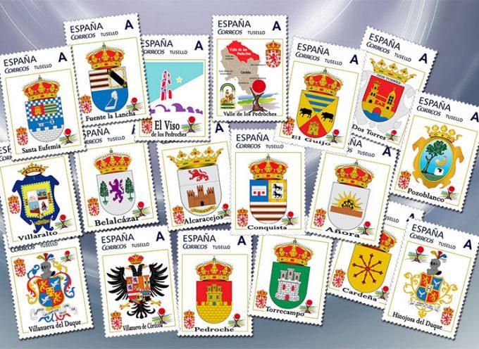 Una colección de sellos con los escudos de Los Pedroches