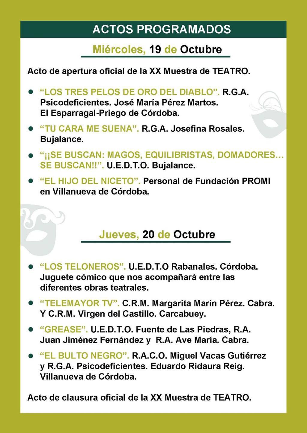 XX Muestra de Teatro