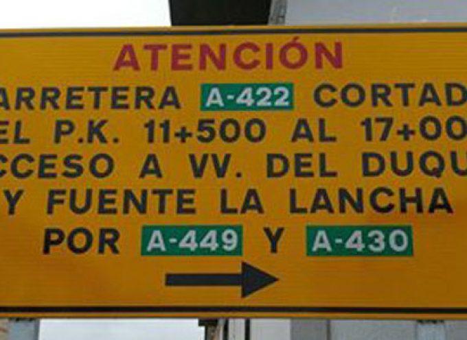Carretera cortada entre Hinojosa del Duque y Fuente la Lancha