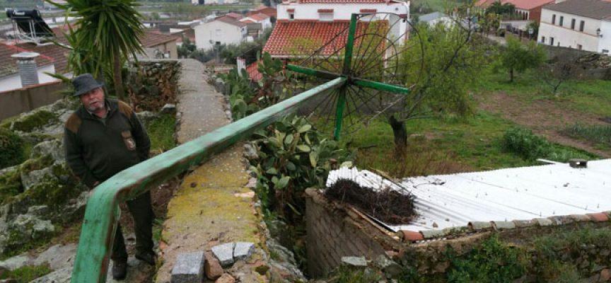 El viento provoca la caída de un poste para nidos de cigüeña en Pedroche