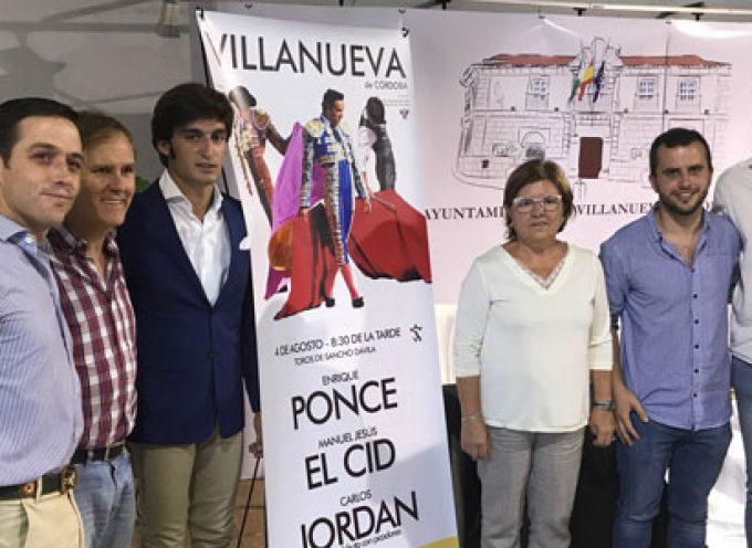 En Villanueva de Córdoba, Ponce y El Cid encabezan el cartel del debut del torero jarote Carlos Jordán