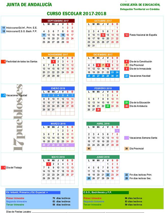 Calendario Vacunal Andalucia 2019.El Calendario Escolar Para El Curso 2017 2018 17 Pueblos