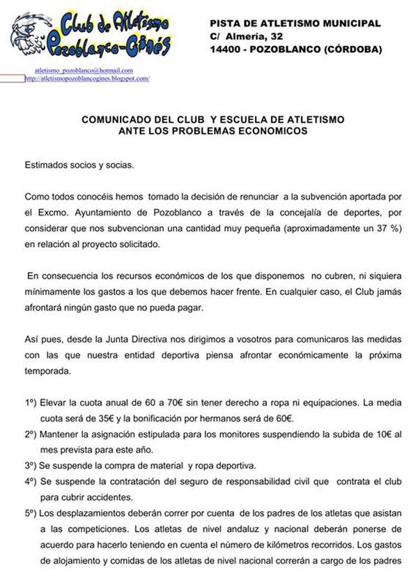 Comunicado del Club Atletismo Pozoblanco Ginés