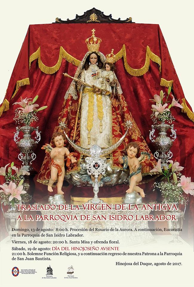 Traslado de la Virgen de la Antigua a la parroquia de San Isidro Labrador, en Hinojosa del Duque