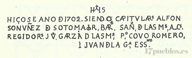Inscripción del ayuntamiento de Pedroche