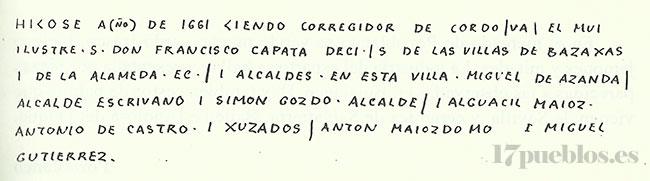 Inscripción del antiguo ayuntamiento de Pedroche