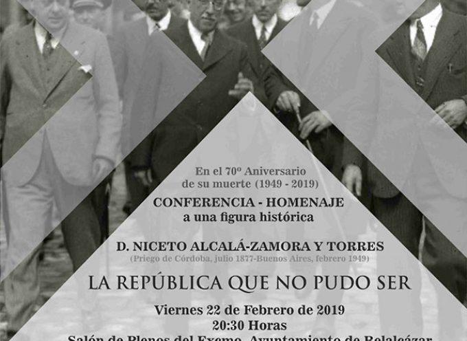 Una conferencia sobre Niceto Alcalá-Zamora, 'La república que no pudo ser', en Belalcázar