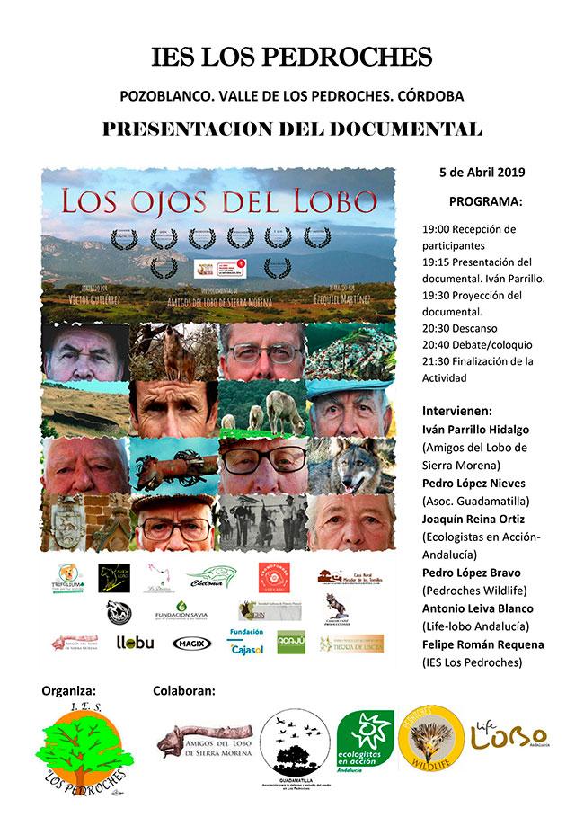 El documental 'Los ojos del Lobo' se proyectará y debatirá en el IES Los Pedroches