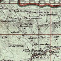 Los Pedroches en un mapa elaborado por el ejército francés en 1810