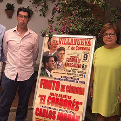 Finito, Julio Benítez 'El Cordobés' y el novillero Carlos Jordán, en la Feria de Villanueva de Córdoba
