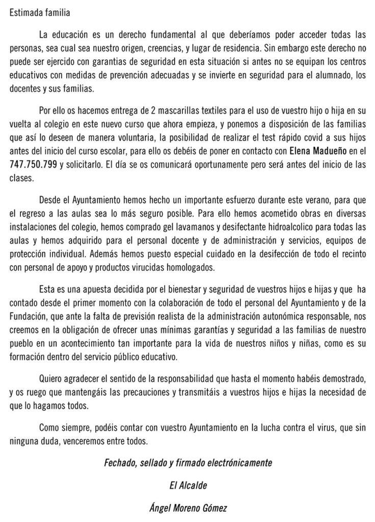El Ayuntamiento de Villaralto entrega material higiénico al colegio y sus alumnos